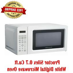 Proctor Silex 0.7 Cu.ft White Digital Microwave Oven, Small
