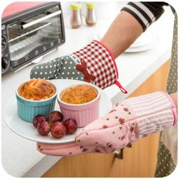 Kitchen Cooking Cotton Microwave Oven Gloves Mitts Pot Pad H