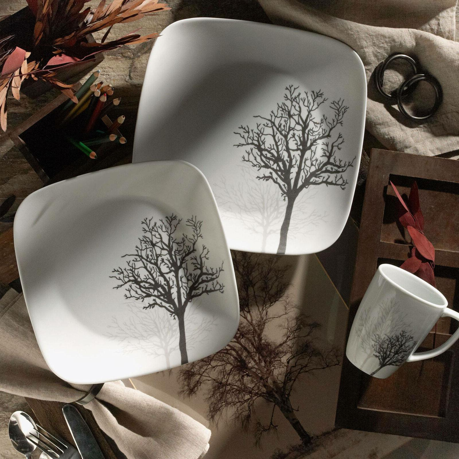 Corelle Dinnerware Plate Cup Timber Shadow Design Microwave & Safe