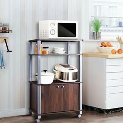 Microwave Oven Cart Rolling Stand Kitchen Dining Room Bakers