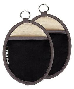 Cuisinart Oval Pot Holder/Oven Mitt w/ Pocket- Black