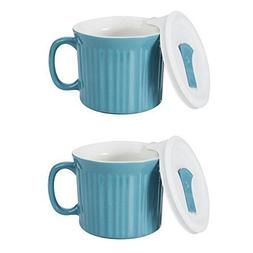 Corningware 20-Ounce Oven Safe Meal Mug with Vented Lid, Poo