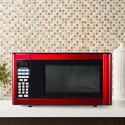 Red 1.1 Cu Ft Kitchen Microwave Oven Stainless Steel 1-Touch