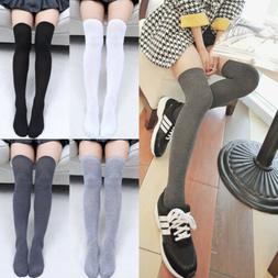 Women Knit Cotton Over The Knee Long Socks Striped Thigh Hig
